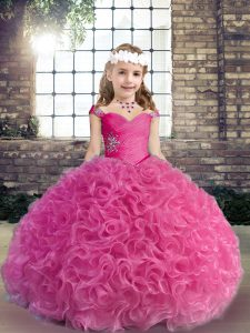Fuchsia Sleeveless Fabric With Rolling Flowers Lace Up Girls Pageant Dresses for Party and Wedding Party