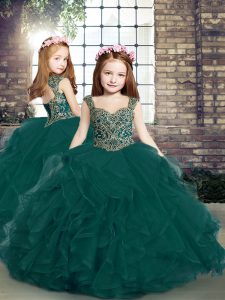 Sleeveless Floor Length Beading and Ruffles Lace Up Little Girl Pageant Dress with Peacock Green