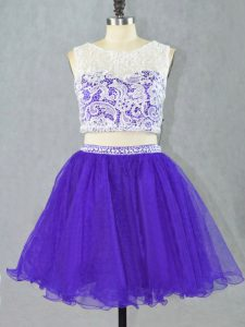Fantastic Lace and Appliques Pageant Dress for Girls Purple Zipper Sleeveless Mini Length