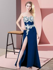 Floor Length Zipper Winning Pageant Gowns Navy Blue for Prom and Party and Military Ball with Lace and Appliques