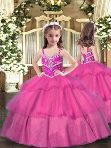 Sleeveless Floor Length Beading and Ruffled Layers Lace Up Little Girls Pageant Dress with Lilac