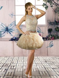 Scoop Sleeveless Pageant Dress Mini Length Beading and Ruffles Champagne Tulle