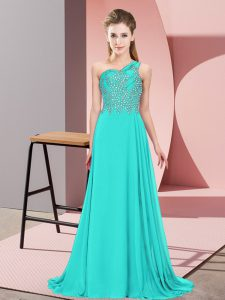 Luxurious Turquoise Empire One Shoulder Sleeveless Chiffon Floor Length Side Zipper Beading Winning Pageant Gowns