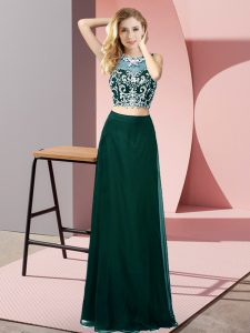 Designer Peacock Green Chiffon Backless Custom Made Pageant Dress Sleeveless Floor Length Beading