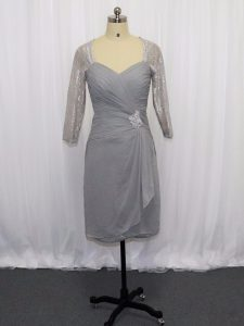 Grey Zipper Pageant Dress Toddler Beading and Ruching Half Sleeves Knee Length