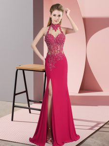 Unique Hot Pink Chiffon Backless Pageant Gowns Sleeveless Floor Length Beading