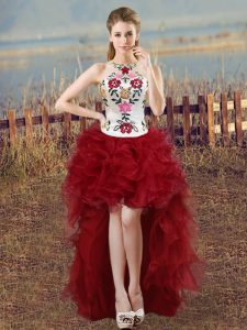 Wine Red Sleeveless Embroidery High Low Glitz Pageant Dress