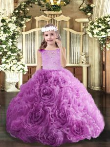 Floor Length Zipper Pageant Dress Toddler Lilac for Party and Wedding Party with Beading