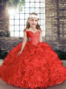 Cheap Red Ball Gowns Organza and Fabric With Rolling Flowers Straps Sleeveless Beading Floor Length Lace Up Pageant Dress for Teens
