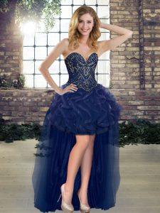 Navy Blue A-line Sweetheart Sleeveless Tulle High Low Lace Up Beading and Ruffles Pageant Dresses