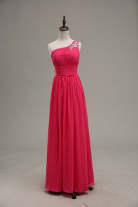Elegant Hot Pink Chiffon and Fabric With Rolling Flowers Zipper Pageant Gowns Sleeveless Floor Length Beading and Ruching