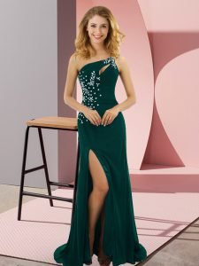 Deluxe Peacock Green Column/Sheath Beading Pageant Dress Wholesale Lace Up Elastic Woven Satin Sleeveless