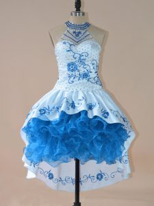 Halter Top Sleeveless Pageant Dress for Teens High Low Embroidery and Ruffles Blue Satin and Organza