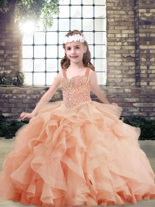 Super Straps Sleeveless Tulle Pageant Dress Wholesale Beading and Ruffles Side Zipper