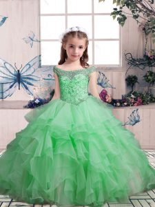Popular Floor Length Lace Up Kids Pageant Dress for Party and Sweet 16 and Wedding Party with Beading and Ruffles