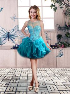 Blue Tulle Lace Up Scoop Sleeveless Mini Length Pageant Dress Womens Beading and Ruffles