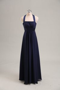Empire Pageant Dress Wholesale Navy Blue Halter Top Chiffon Sleeveless Floor Length Lace Up