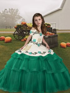 Wonderful Turquoise Lace Up Straps Embroidery and Ruffled Layers Little Girls Pageant Dress Tulle Sleeveless