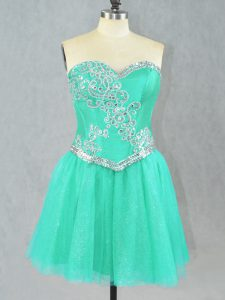 Turquoise Lace Up Pageant Gowns Beading Sleeveless Mini Length