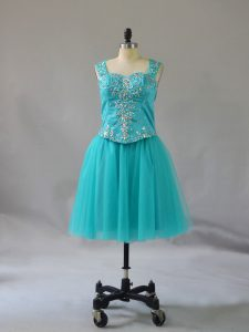 Mini Length A-line Sleeveless Turquoise Pageant Dresses Zipper