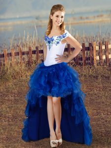 Custom Made Blue And White Ball Gowns Embroidery Pageant Dress Lace Up Organza Sleeveless High Low