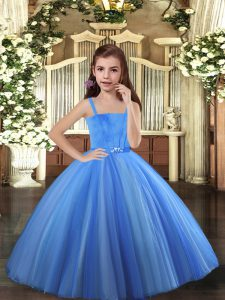 Sweet Blue and Yellow And White Ball Gowns Straps Sleeveless Tulle Floor Length Lace Up Beading Pageant Dress Womens