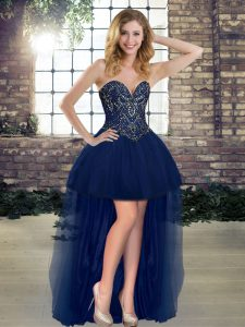 Fantastic Sleeveless Tulle High Low Lace Up Pageant Dresses in Navy Blue with Beading