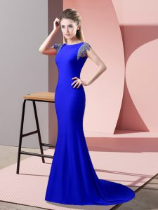 Royal Blue Winning Pageant Gowns Prom and Party with Beading High-neck Short Sleeves Brush Train Backless