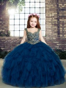 Trendy Navy Blue Sleeveless Lace Up Little Girls Pageant Dress for Party and Military Ball and Wedding Party