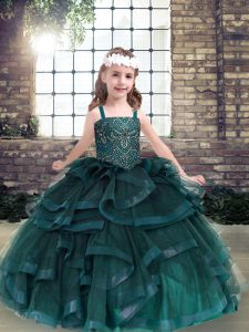 Straps Sleeveless Pageant Dress Floor Length Beading and Ruffles Peacock Green Tulle