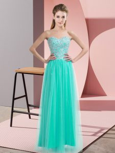 Turquoise Empire Tulle Sweetheart Sleeveless Beading Floor Length Lace Up Pageant Dresses