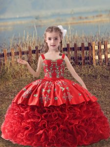Excellent Red Sleeveless Embroidery Lace Up Pageant Dress for Teens