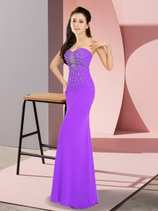 Customized Lavender Sleeveless Floor Length Beading Zipper Pageant Dress Wholesale