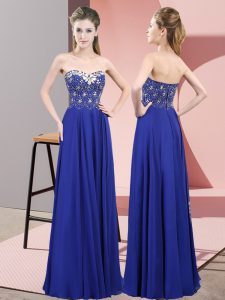 Floor Length Empire Sleeveless Royal Blue Pageant Dress for Teens Zipper