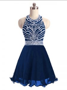 Navy Blue A-line Chiffon Halter Top Sleeveless Beading Mini Length Lace Up Pageant Dress for Teens