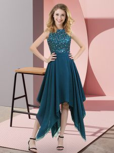 Pretty High-neck Sleeveless Pageant Dress for Womens Asymmetrical Beading and Sequins Teal Chiffon