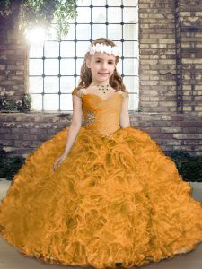 Gold Lace Up Straps Beading Glitz Pageant Dress Fabric With Rolling Flowers Sleeveless