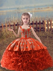 Orange Red Fabric With Rolling Flowers Lace Up Straps Sleeveless Pageant Dress Sweep Train Embroidery