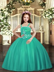 Graceful Straps Sleeveless Kids Pageant Dress Floor Length Beading Turquoise Tulle