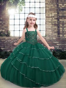 Peacock Green Ball Gowns Lace Straps Sleeveless Beading Floor Length Lace Up Little Girl Pageant Gowns