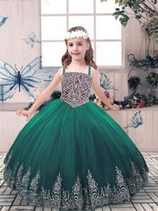 Green Sleeveless Tulle Lace Up Pageant Dress Wholesale for Party and Sweet 16 and Wedding Party