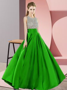 Green Sleeveless Elastic Woven Satin Backless Pageant Dress for Teens for Prom and Party