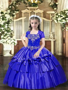Elegant Blue Ball Gowns Taffeta Straps Sleeveless Beading and Ruffled Layers Floor Length Lace Up Kids Formal Wear