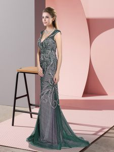 Peacock Green Mermaid Beading Pageant Dress Wholesale Zipper Tulle Sleeveless
