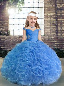 Hot Sale Sleeveless Beading and Ruching Lace Up Pageant Dress Womens
