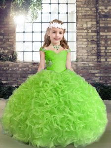Sweet Straps Neckline Beading Pageant Dress for Teens Sleeveless Lace Up