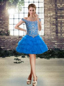 Affordable Sleeveless Lace Up Mini Length Beading and Pick Ups Evening Gowns