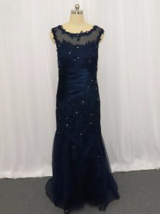 Stunning Navy Blue Scoop Zipper Lace and Appliques Winning Pageant Gowns Sleeveless