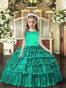 Attractive Turquoise Ball Gowns Scoop Sleeveless Floor Length Lace Up Ruffled Layers Kids Pageant Dress