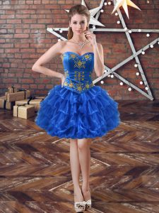 Royal Blue Lace Up Sweetheart Embroidery and Ruffled Layers Custom Made Pageant Dress Organza Sleeveless